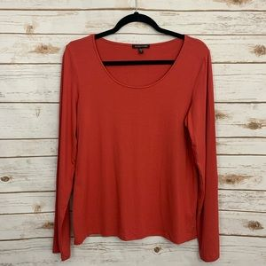 Eileen Fisher Solid Scoopneck Long Sleeve Blouse